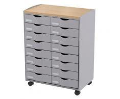 Désserte mobile 16 tiroirs grise - Corbeille, bac à courrier, poubelle