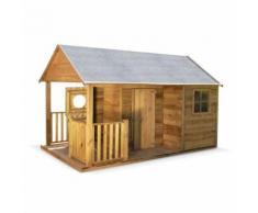 Maisonnette avec véranda en bois FSC de 4,5 m², Rose - cabane en pin autoclave - Maisons de jardin