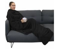 Couverture polaire plaid intégral avec manches et poche - Enfant ou adulte jusqu'à 1.65m - Noir - Linge de lit