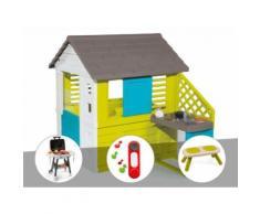 Cabane enfant Pretty + Cuisine d'été - Smoby + Plancha + Sonnette + Banc - Maisons de jardin