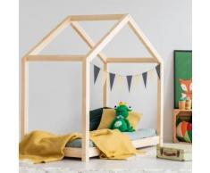 Lit maisonnette / Lit cabane - KEVIN - 90x190 cm - bois massif - cadre à lattes inclus - Cadre de lit