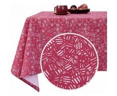 Deconovo Nappe Designer Series Rectangulaire à Motifs en Tissu Oxford Semi Imperméable 137x274cm Fuchsia Nappe Salle à Manger Rectangle - Linge de table