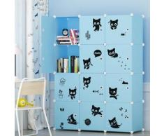 Armoire Etagère Plastique Enfants 12 Cubes Bleu, Armoires Meubles de Rangement Pour Vêtements Chaussures Jouets En Chat - Armoire bébé