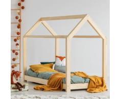 Lit maisonnette / Lit cabane - PANAMA - 70x140 cm- bois massif - cadre à lattes inclus - Cadre de lit