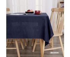 Deconovo Nappe Bleu Marine Simili Lin Nappe Table Rectangulaire pour Maison Salon Salle à Manger en Tissu Design Semi Imperméable 137x200cm - Linge de table