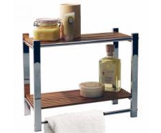 Watsons - BAMBOO - étagère murale salle be bain avec porte-serviette argent / naturelle - Meubles de salle de bain