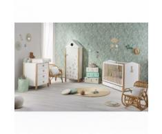 Chambre complète lit bébé 60x120 - commode - armoire - Tiroir de lit et plan à langer offerts - Blanc - Chambres enfant complètes