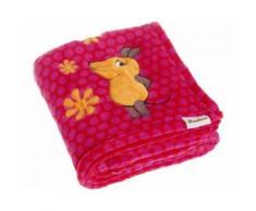 Playshoes couverture polaire souris 75 x 100 cm rose - Linge de lit