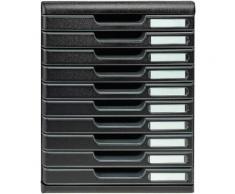 Exacompta-302414D-Modulo Eco Black Module de Classement 10 Tiroirs Noir - Armoires de bureau