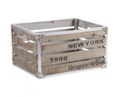 Aubry Gaspard - Caisse en bois et métal style industriel New-York - Boite de rangement