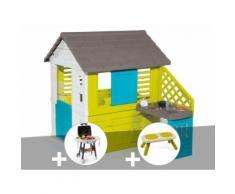 Cabane enfant Pretty + Cuisine d'été - Smoby + Plancha + Banc - Maisons de jardin