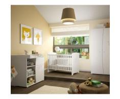 Chambre complète lit bébé 60x120 - commode à langer - armoire 2 portes Adèle - Blanc - Chambres enfant complètes