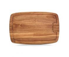 Zeller 25556 planche à découper avec rigole bois d'acacia, 40 x 26 x 1,5 cm, naturel - Ustensiles