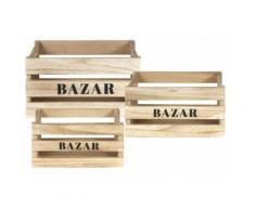 The Home Deco Factory - Cagettes en bois Bazar (Lot de 3) - Boite de rangement