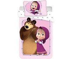 Macha et l'ours Linge de lit enfant bébé 100 x 135 cm, 40 x 60 cm - Linge de lit