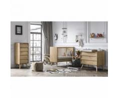 Chambre complète lit bébé 60x120 - commode à langer - chiffonnier Vintage - Bois - Chambres enfant complètes