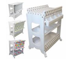 Table à langer avec baignoire et rangements - Marron - Table et chaise