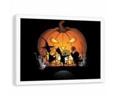 Feeby Image encadrée décorative cadre blanc Tableau mural, Citrouille d'halloween 60x40 cm - Décoration murale