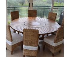 Table ronde en bois foncé contemporaine ANASTASIA - L 180 x P 180 x H 75 cm - Tables salle à manger