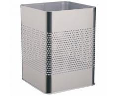 Durable 332123 corbeille à papier carrée 18,5 litres hauteur 32 cm en métal peint avec perforations coloris argent métallisé - Accessoires de rangement