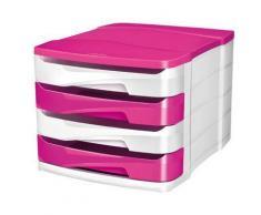 Module de 4 tiroirs Isis blanc et rose - Corbeille, bac à courrier, poubelle