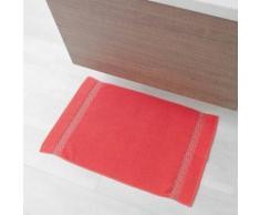 Tapis de bain 50 x 85 cm eponge unie jacquard adelie Corail - Tapis et paillasson