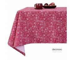 Deconovo Nappe Designer Series Rectangulaire à Motifs en Tissu Oxford Semi Imperméable Nappe Salle à Manger Rectangle 130x220cm Fuchsia - Linge de table
