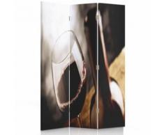 Feeby Paravent 3 parties une face Diviseur de pièce déco intérieur, Verre de vin rouge 110x180 cm - Objet à poser