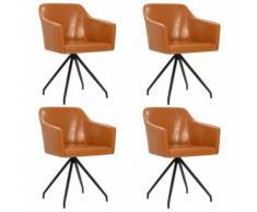 vidaXL Chaise pivotante de salle à manger 4 pcs Marron Similicuir - Chaise