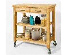 Chariot de Cuisine en bois d'hévéa Kitchen Trolley Desserte roulante avec deux étagères FKW24-N SoBuy® - Dessertes de rangement
