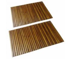 tapis de bain en acacia 2 pcs - Tapis de bain
