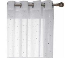 Deconovo Lot de 2 Voilages Rideaux Blanc 140x 245cm à Oeillets Motif des Petits Etoiles Imprimés Argents Rideaux Salon Design Moderne en Chambre Adulte - Rideaux et stores