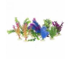 16 plantes artificielles pour aquarium en plastique - Objet à poser