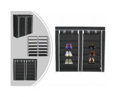 Penderie, Armoire, 2 portes, placard à chaussures, 114 x 110 x 28 cm, Noir, Matériau: Tubes en acier inoxydable, Connecteurs de tuyaux en plastique - Patères et portant