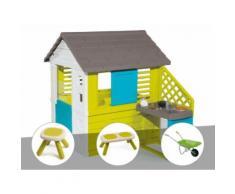 Cabane enfant Pretty + Cuisine d'été - Smoby + Tabouret + Banc + Brouette - Maisons de jardin