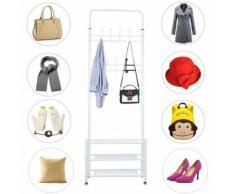 Porte-manteau avec étagère à chaussures en métal et plastique multipurpose - 185*65*30cm - Blanc - Portes manteaux