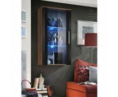 Paris Prix - Vitrine Led Murale Design neo 110cm Prunier & Noir Brillant - Vaisseliers