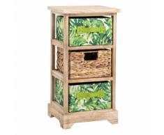 Chiffonnier ADELFIA petite étagère rangement avec 2 tiroirs feuilles tropicales et 1 panier tressé, en bois de paulownia déco jungle - Commodes