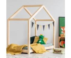 Lit maisonnette / Lit cabane - KEVIN - 70x140 cm - bois massif - cadre à lattes inclus - Cadre de lit