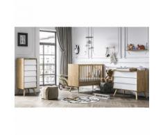 Chambre complète lit bébé 60x120 - commode à langer - chiffonnier Vintage - Bois Blanc - Chambres enfant complètes