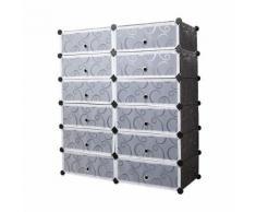 12 Cubes Armoire à Chaussures en Plastique - LEMAIJIAJU - Étagère à Chaussures Rangement de Vêtements - 95 * 37 * 107cm Noire et Blanc Translucide - Meubles à chaussures
