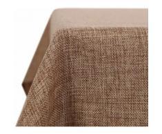 Deconovo Nappe Decoratif Imperméable de Salle à Manger Effet Lin 132x178cm Brun - Linge de table