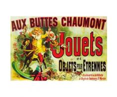 Vintage Papier Peint Photo/Poster Autocollant - Aux Buttes Chaumont, Jouets Et Objets Pour Étrennes, Jules Cheret, 1885 (120x180 cm) - Décoration murale