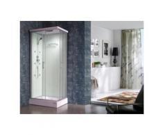 Cabine de douche hydromassante TYRAL - 6 zones de jets de massage - L90 x l 70 x H212 cm - pluie tropicale et douchette - Installations salles de bain
