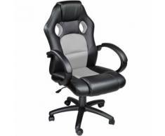 TECTAKE Chaise de bureau, Fauteuil de bureau RACING SPORT Noir / Gris Rembourrage Épais - Hauteur Réglable - Pivotante - Sièges et fauteuils de bureau