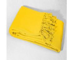 Jete de canape a franges 180 x 220 cm coton tisse lana Jaune - Textile séjour