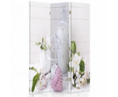 Feeby Paravent pivotant décoratif Toile imprimée 3 panneaux, Fleurs Love 110x180 cm - Objet à poser
