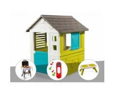 Cabane enfant Pretty - Smoby + Plancha + Sonnette + Banc - Maisons de jardin