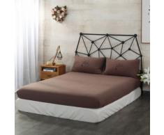 Impression de couleurs unies Literie simple en coton lavé Brown 180cm*200cm - Linge de lit