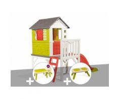 Cabane enfant Pilotis - Smoby + Table et 2 chaises + Banc - Maisons de jardin